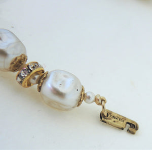 Vintage 1950s Miriam Haskell Baroque Faux Pearl Necklace
