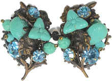 Load image into Gallery viewer, Vintage Early Miriam Haskell Faux Turquoise & Blue Crystal Earrings
