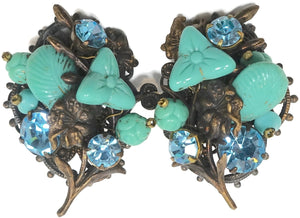 Vintage Early Miriam Haskell Faux Turquoise & Blue Crystal Earrings