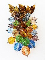Vintage Early Miriam Haskell Multi-Color Fur Clip-Pin