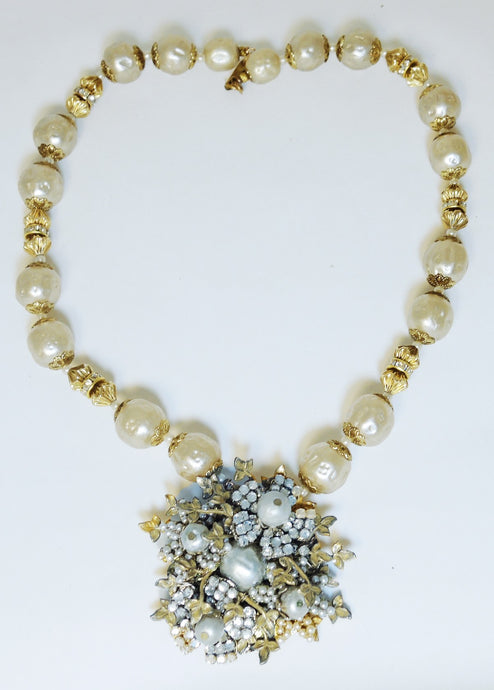 Vintage All Original 1950s Signed Miriam Haskell Faux Pearl Necklace