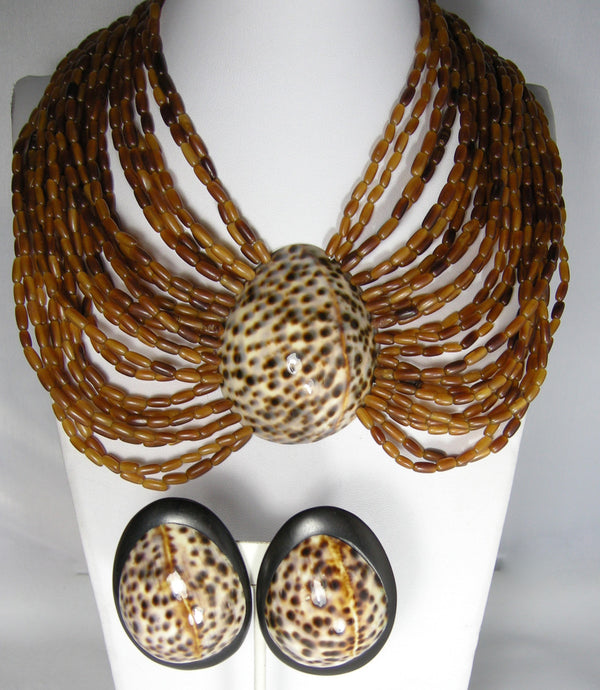 Vintage Gerda Lynggaard Monies Cowry Shell Necklace & Earrings