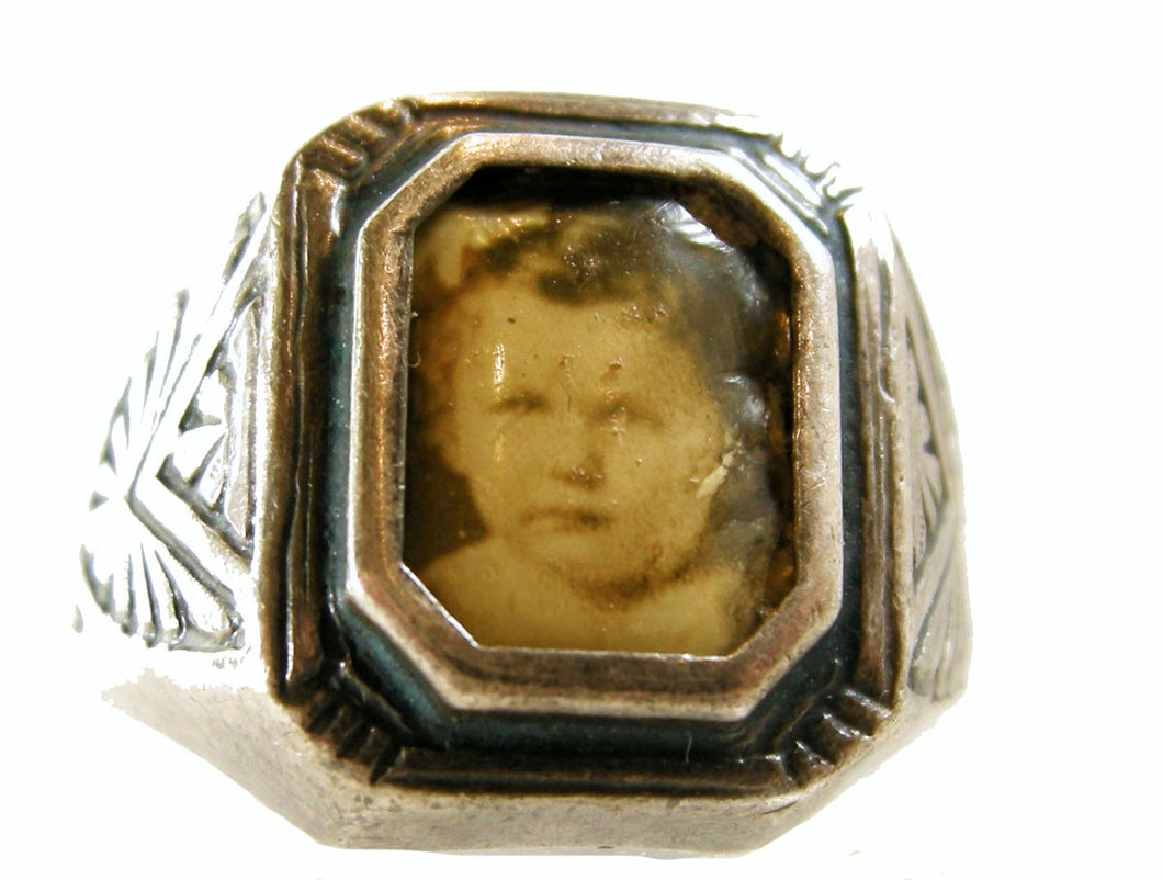 Sterling Silver Mourning Ring with Photo