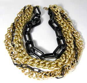 Dramatic Vintage Black & Gold Multi-Chain Necklace - JD10226