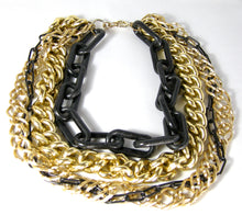 Load image into Gallery viewer, Dramatic Vintage Black & Gold Multi-Chain Necklace - JD10226