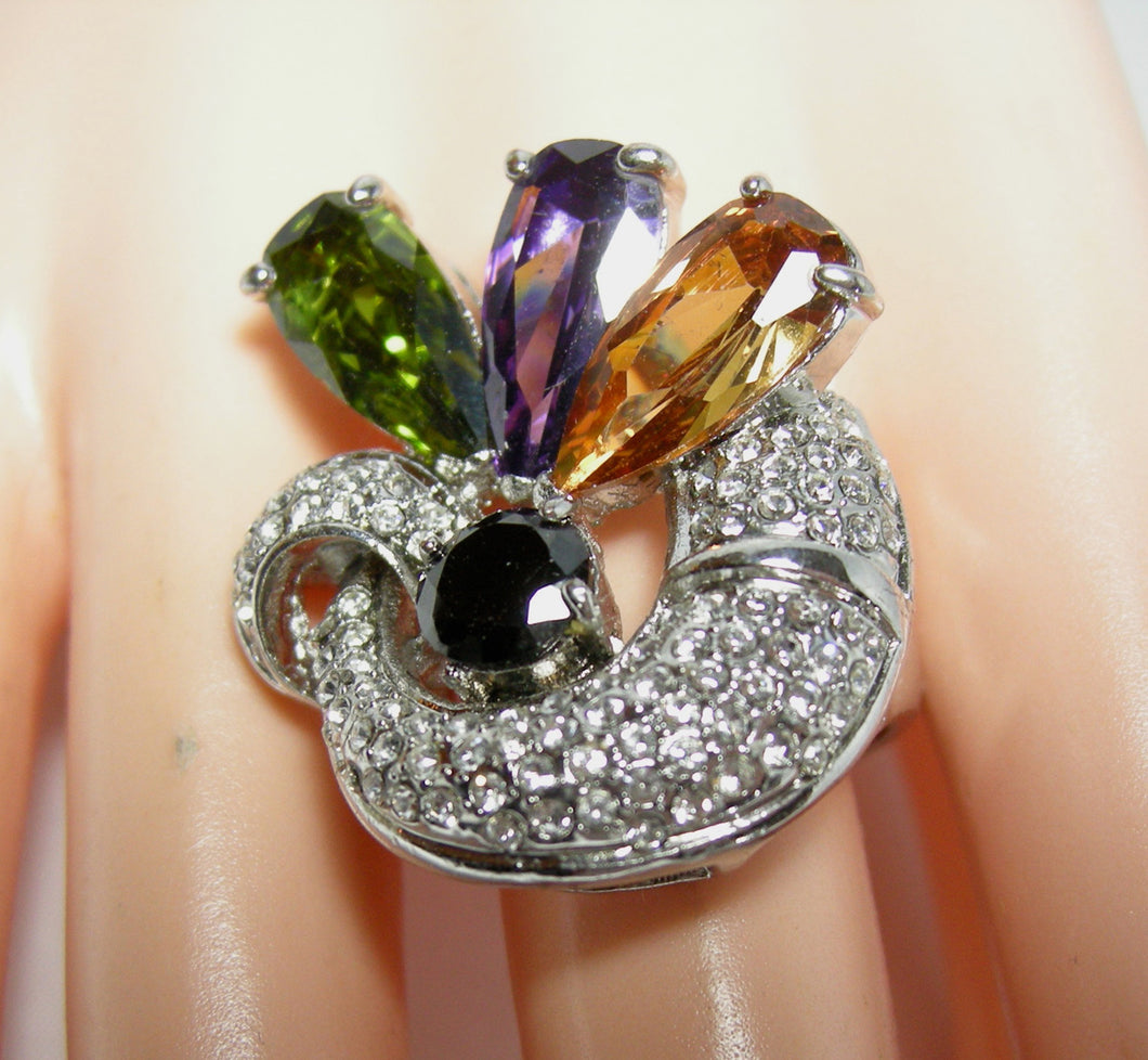 Multi-Colored CZ Cocktail Ring - JD10194