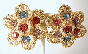 Vintage 1970's Multi-Color Crystals Earrings