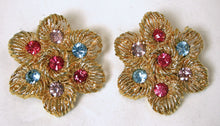 Load image into Gallery viewer, Vintage 1970's Multi-Color Crystals Earrings