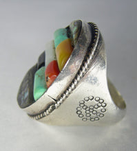 Load image into Gallery viewer, Vintage Amazing Sterling Navajo Pawn Multi-Turquoise Ring