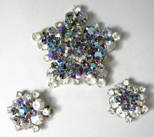 Load image into Gallery viewer, Vintage Opal Iridescent & Aurora Borealis Brooch & Earring Set  - JD10263