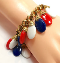 Load image into Gallery viewer, Vintage Signed Napier Red, White & Blue Drops Bracelet