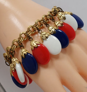 Vintage Signed Napier Red, White & Blue Drops Bracelet