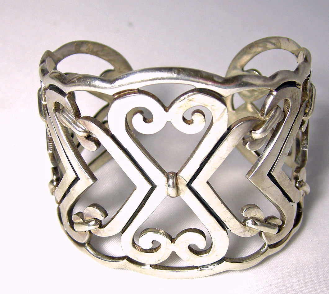Vintage Signed Sterling Abstract Heart Cuff Bracelet