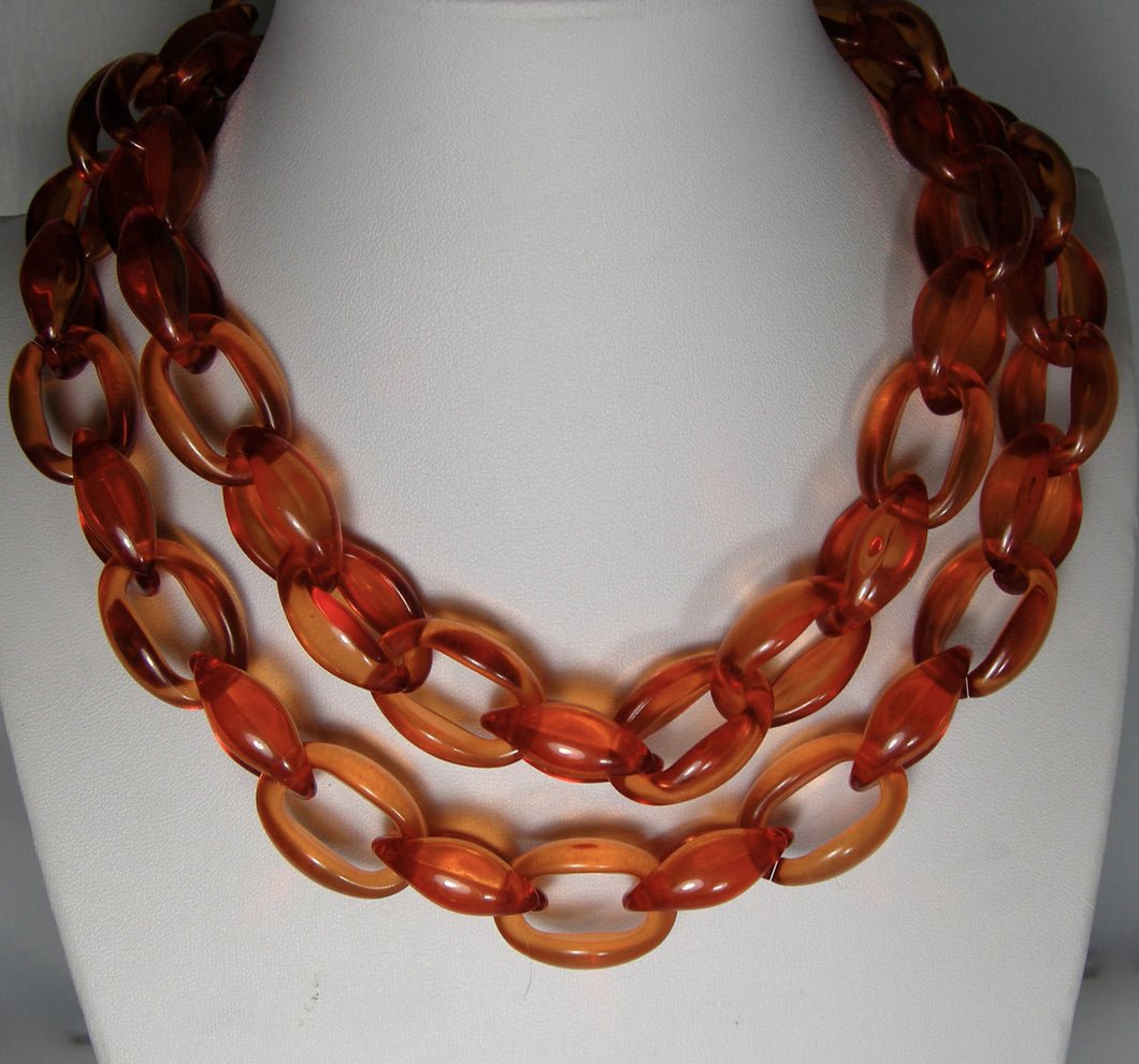 Vintage Signed Long 1980s Orange Open Link Necklace