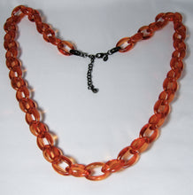 Load image into Gallery viewer, Vintage Signed Long 1980s Orange Open Link Necklace