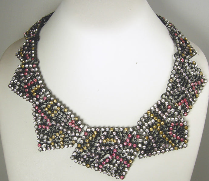 Signed Oscar de la Renta Multi Color Necklace 50s Geometric Runway Necklace