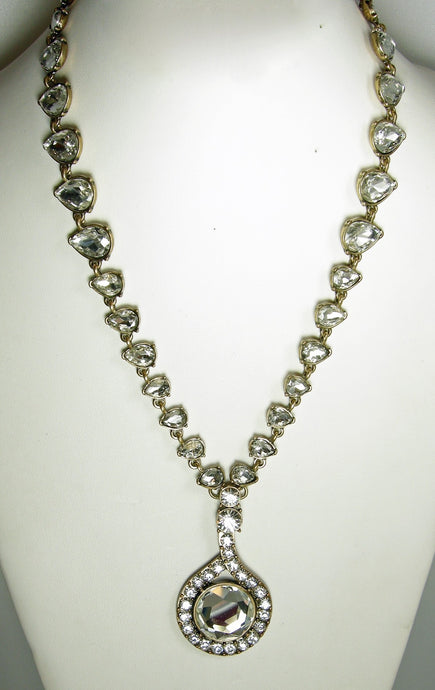 Signed Vintage Oscar de la Renta Clear Crystal Drop Necklace
