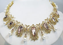 Load image into Gallery viewer, Signed Oscar de la Renta Faux Pearl, Amethyst & Clear Crystal Necklace