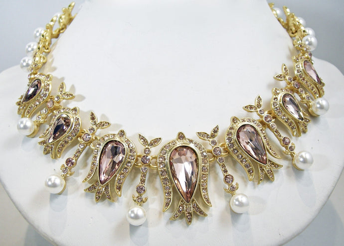 Signed Oscar de la Renta Faux Pearl, Amethyst & Clear Crystal Necklace