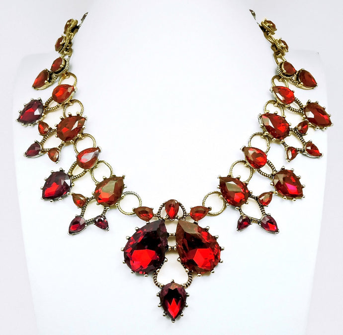 Oscar De La Renta Faux Ruby Statement Necklace