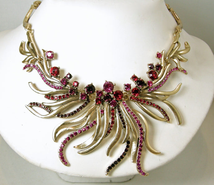 Signed Oscar de la Renta Red, Pink & Amethyst Color Crystals Bib Necklace