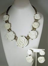 Load image into Gallery viewer, Signed Oscar de la Renta White Camellia Runway Necklace & Earrings Set