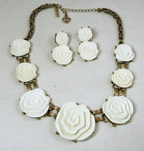 Signed Oscar de la Renta White Camellia Runway Necklace & Earrings Set