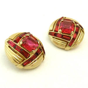 Vintage Boucher Red Rhinestone Earrings
