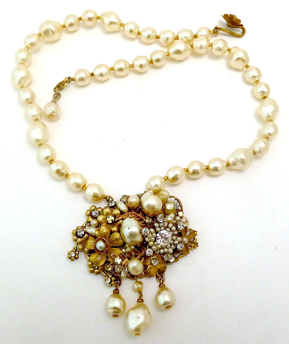Vintage Miriam Haskell Faux Pearl Pendant Necklace