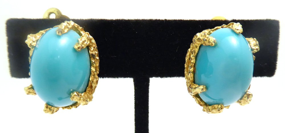 Vintage Faux Turquoise Clip-back Panetta Earrings