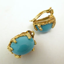 Load image into Gallery viewer, Vintage Faux Turquoise Clip-back Panetta Earrings