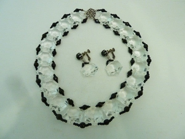 Vintage Signed Miriam Haskell Lucite and Black Bead Necklace & Earrings