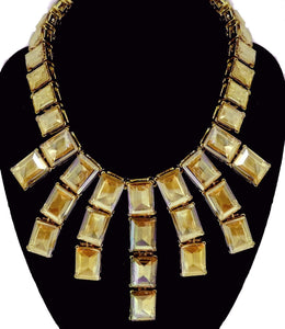 Signed Kenneth J. Lane Citrine Crystal Necklace