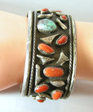 Load image into Gallery viewer, Vintage Sterling Zuni Coral And Turquoise Nugget Cuff