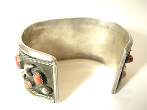 Vintage Sterling Zuni Coral And Turquoise Nugget Cuff