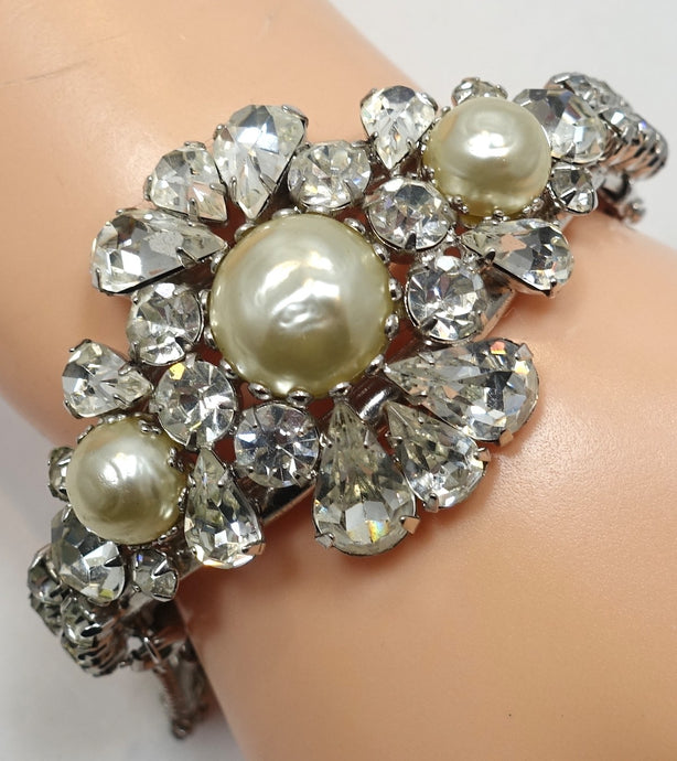 Vintage Faux Pearl and Crystal Bracelet