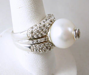 """Ralph Lauren"" Sterling Silver Cultured Pearl & White Sapphire Ring"