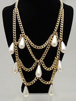 Vintage Teardrop Faux Pearl Necklace