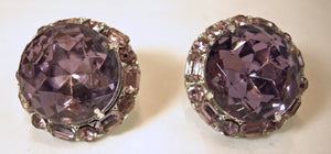 Vintage Faux Amethyst Crystal Earrings