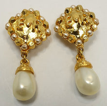 Load image into Gallery viewer, Vintage Signed Edouard Rambaud Dangling Faux Pearl Earrings