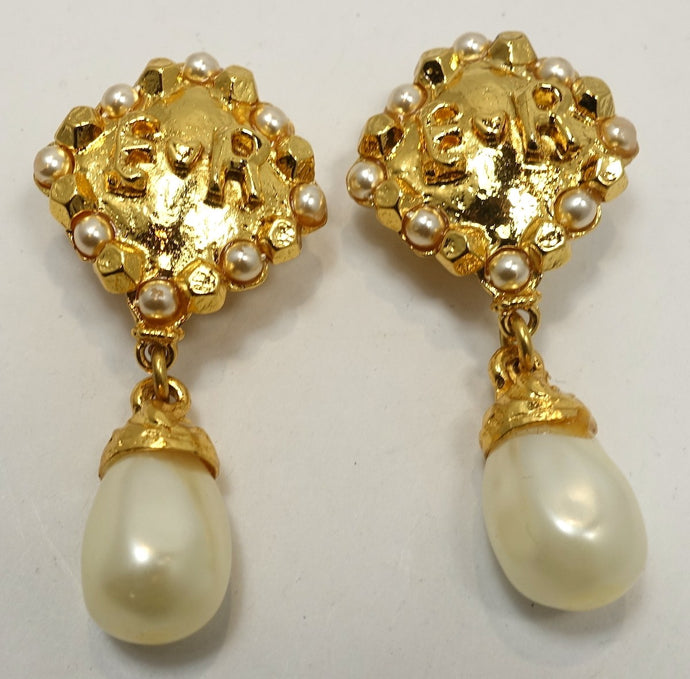 Vintage Signed Edouard Rambaud Dangling Faux Pearl Earrings