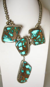 Vintage Sterling Rare Indian Morenci Turquoise Necklace By Albert Jake