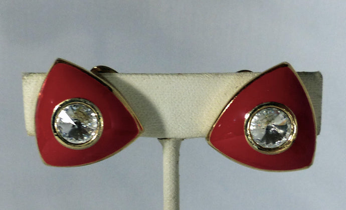 Vintage 1980s Red Enamel & Crystal Earrings - JD10112
