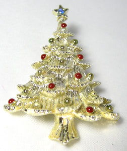 Vintage Gold Tone Red Drop Christmas Tree Pin - JD10155