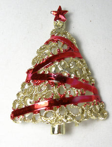 Vintage Red Ribbon Christmas Tree Pin - JD10159