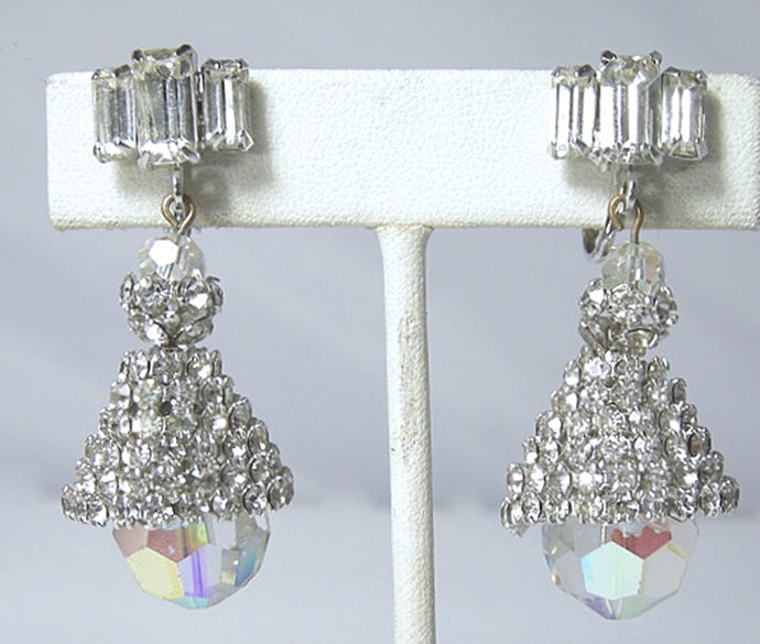 Vintage Crystal and Aurora Borealis Drop Earrings