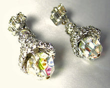 Load image into Gallery viewer, Vintage Crystal and Aurora Borealis Drop Earrings