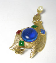 Load image into Gallery viewer, Vintage 1960s Large Seal Figural Brooch Balancing A Faux Pearl  - JD10175