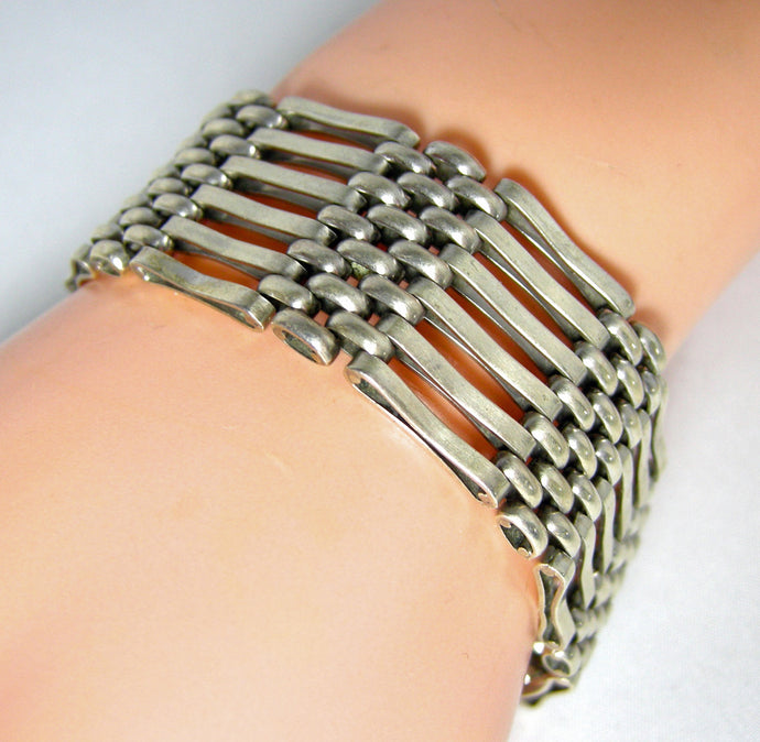 Vintage Signed HSB Sterling Open Gate Design Bracelet - JD10170