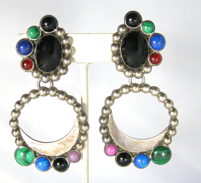 Vintage Sterling Signed Dolce Mexican Dangling Earrings
